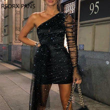 Load image into Gallery viewer, Glitter One Shoulder Sheer Mesh Ruched Long Sleeve Bodycon Dress Women Dress