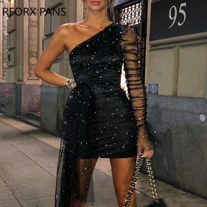 Glitter One Shoulder Sheer Mesh Ruched Long Sleeve Bodycon Dress Women Dress