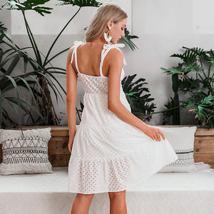 Simplee Casual white summer beach dress Bow-knot shoulder embroidery backless