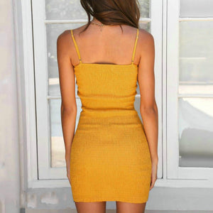 Summer Sexy Bandage Hollow Out Dress Sleeveless Backless Bodycon Party Club Dress Mini Wrap Dress