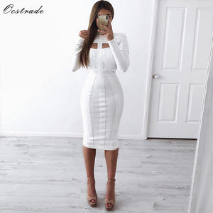 Ocstrade White Bandage Dress Bodycon 2020 Cut Out High Neck Long Sleeve Party Midi