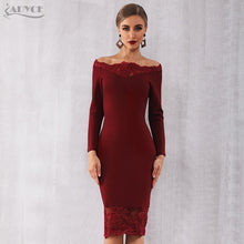 Load image into Gallery viewer, Adyce Bandage Dress Vestidos Slash Neck Party Dress Elegant Off Shoulder Lace Bodycon Club