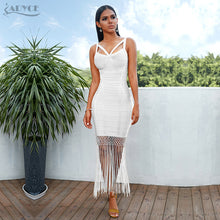 Load image into Gallery viewer, Adyce Summer Fringe Bandage Dress Vestidos Sexy Sleeveless Tassel Bodycon Club Midi Evening Party