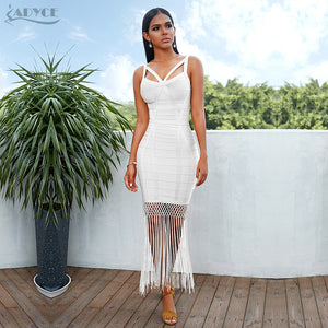 Adyce Summer Fringe Bandage Dress Vestidos Sexy Sleeveless Tassel Bodycon Club Midi Evening Party