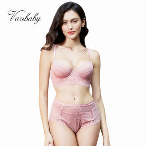 Varsbaby new french style sexy ultra-thin floral lace underwear unlined beauty back bra sets