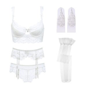 Varsbaby sexy lace push up bra sets bra+panties+garter+stockings+necklace Christmas 5 Pcs/Lots