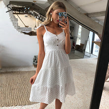 Load image into Gallery viewer, Simplee Casual white summer beach dress Bow-knot shoulder embroidery backless