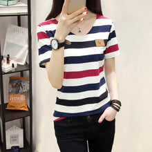 Load image into Gallery viewer, Women's Striped Print Short Sleeve Female Casual Top T-Shirt Girl Shirts