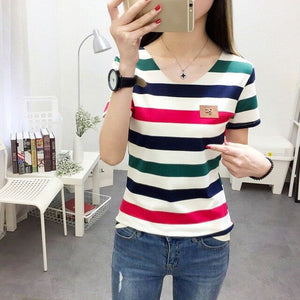 Women's Striped Print Short Sleeve Female Casual Top T-Shirt Girl Shirts