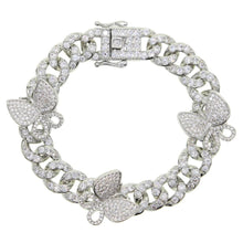 Load image into Gallery viewer, Stonefans Cuban Link Iced Out Butterfly Bracelet Jewelry Hip Hop Bling Rhinestone