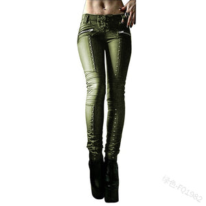 Women Retro PU Leather Pants Punk Rivet Zipper Lace up Pencil pants Gothic Casual Autumn