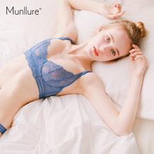 Load image into Gallery viewer, 2pc Munllure-Sexy comfortable ultra-thin  flowers fresh fresh lace breathable bra set