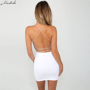 Macheda Black And White Ladies Sexy Halter Sheath Dress Tight Solid Color Sleeveless Backless Beach