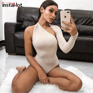 InstaHot One Shoulder Sexy Bodysuit Scoop Back Skinny Tight Playsuits One Sleeve