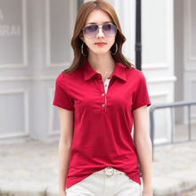 Load image into Gallery viewer, SEBOWEL Polo Shirt Solid Lapel Jersey Short Sleeve Office Lady Fashion Tops Polos