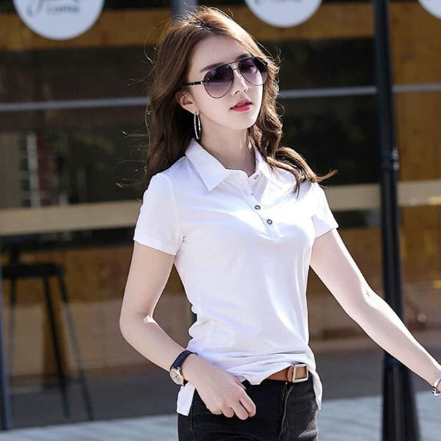 SEBOWEL Polo Shirt Solid Lapel Jersey Short Sleeve Office Lady Fashion Tops Polos
