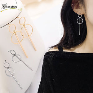 Geometry Earrings Double Circle Long Rod Tassel Pendant Earring Oorbellen Brincos Bijoux