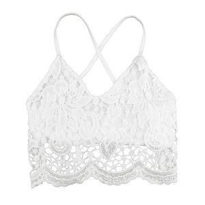 ANSELF 2020 Sexy Knitted Crochet Crop Top Bra Deep V Neck Spaghetti Strap Backless Camisole