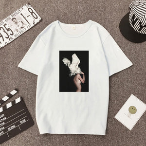 White Trend Element Pattern Flowers Feather Print Summer Women's Polo Shirt Round Collar Breathable