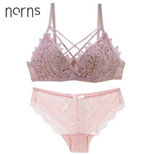 Load image into Gallery viewer, Norns sexy red lenceria underwear no steel ring small chest gathered bra lace no trace lingerie lace