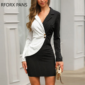 Contrast Color Striped Insert Blazer Office Look Notched Neck Work Dresses Office