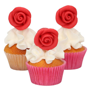 FunCakes Décorations en pâte d'amande Roses Rouges Set/6