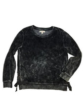 Load image into Gallery viewer, Paper Black Washed Velour Sweatshirt W/ Grommet & Ties