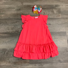 Load image into Gallery viewer, Bright Coral Double Ruffle Hem Dress
