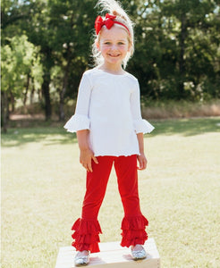 Ruffle Butts Red Slim Pants