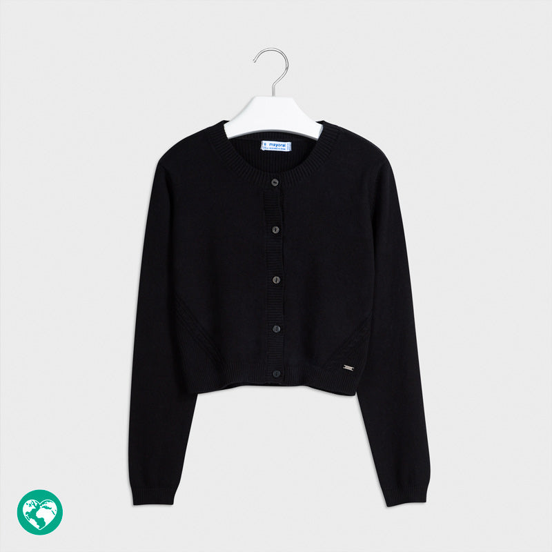 Mayoral Girls Basic Soft Sweater Knit Black Cardigan