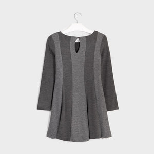 Mayoral Girls Gray Sparkle & Charcoal Knit Lurex Dress