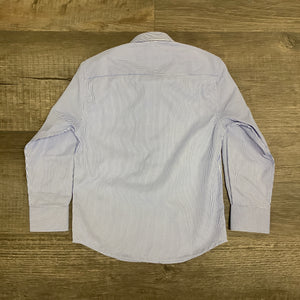 Boys Classic Blue And White Stripe Long Sleeve Shirt