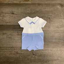 Load image into Gallery viewer, Little Man Blue & White Knit Romper w/ Bowtie
