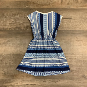 Blue Stripe & Print Dress
