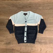 Load image into Gallery viewer, Leo & Zachary GABE Pale Blue & Navy Cardigan