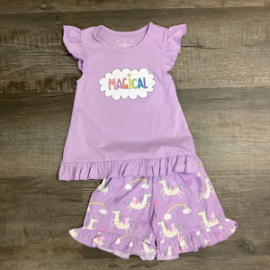 """MAGICAL"" Unicorn & Rainbows Lavender Shortie Pajamas"