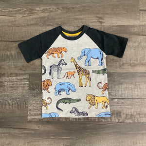 C R Sport Boys Safari Animals Print Heather Grey Raglan Sleeve T Shirt