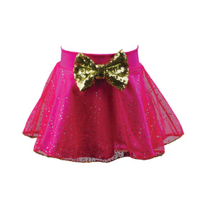 Reflectionz Fuchsia/Gold Glitter Skirt w/ Sequins