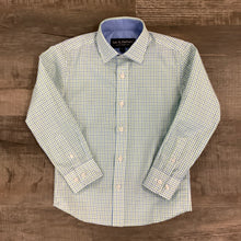 Load image into Gallery viewer, Boys Blue & Green Plaid Long Sleeve Shirt