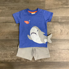 Load image into Gallery viewer, Blue Shark Tee and Gray Short Set