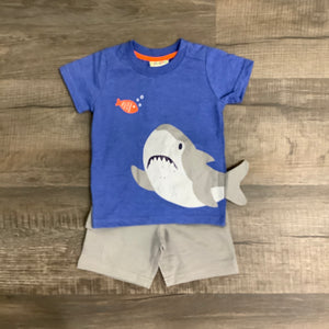 Blue Shark Tee and Gray Short Set