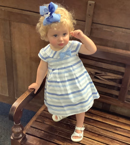 Blue & White Striped Dress w/ Bloomers