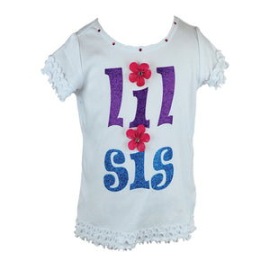 "Reflectionz ""Lil Sis"" Shirt w/ Floral Accents"