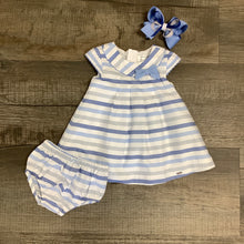 Load image into Gallery viewer, Blue & White Striped Dress w/ Bloomers