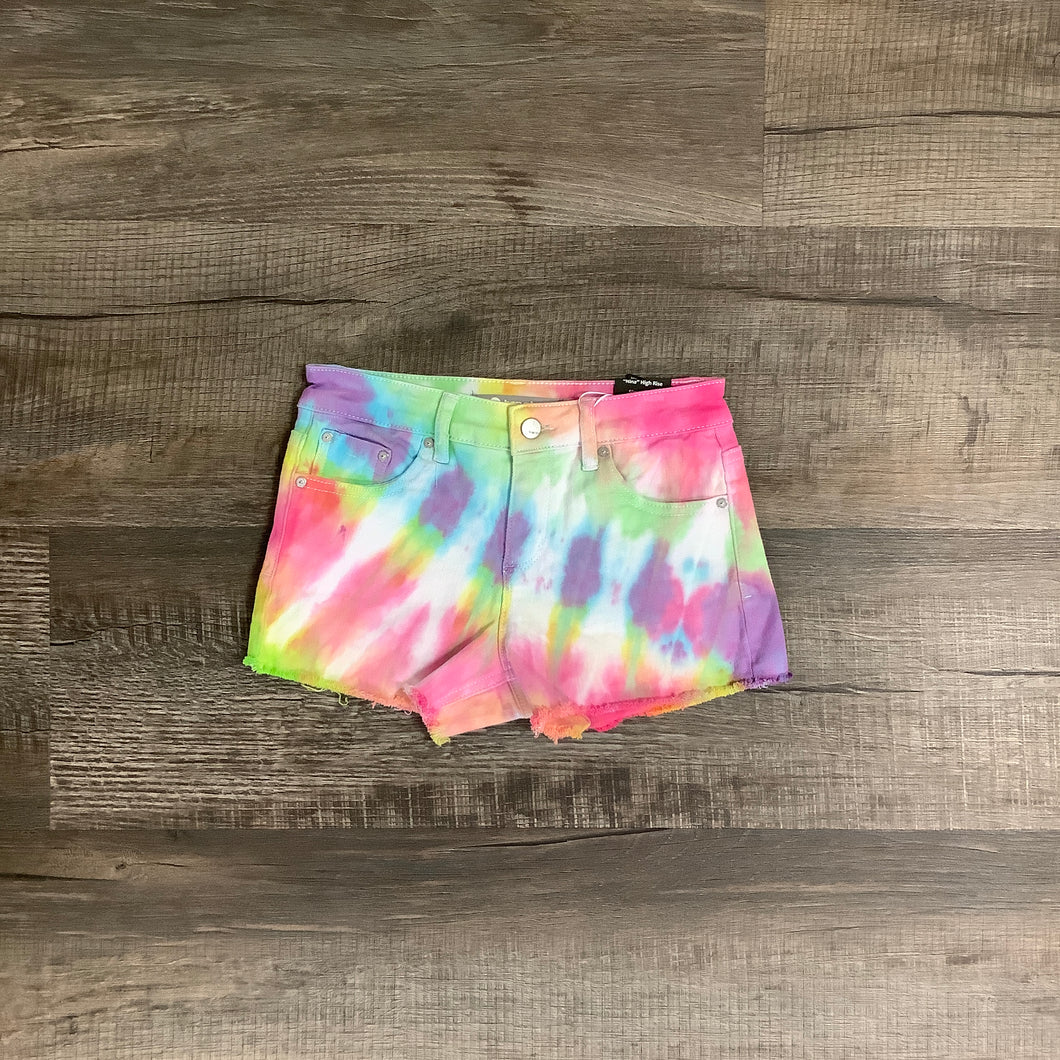 Mid Rise Fray Hem Bright Tie Dye Shorts by Tractr