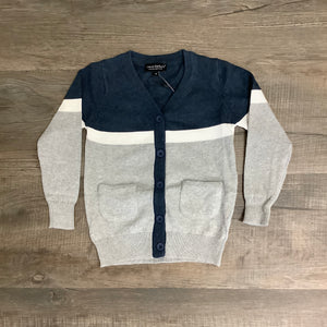Leo & Zachary Boys 100% Cotton Navy/Gray Gabe Cardigan
