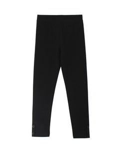 CR Kids Basic Black Leggings w/ Button Placket