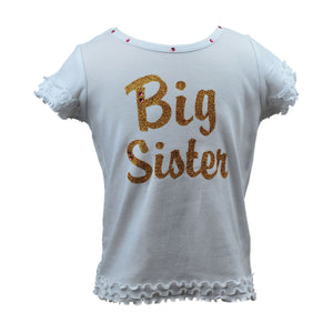 "Reflectionz ""Big Sister"" Shirt in Gold Cursive"