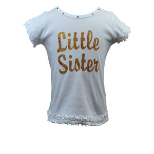 "Reflectionz ""Little Sister"" Shirt in Gold Cursive"