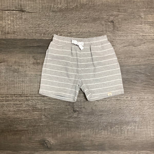 Heather Gray and White Stripe Pull On Knit Short